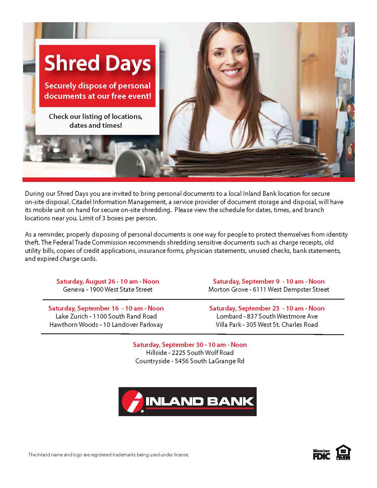 inland bank shred event | villa park chamber of commerce